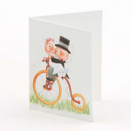 Tarjeta para personalizar los detalles, novios en bicicleta antigua