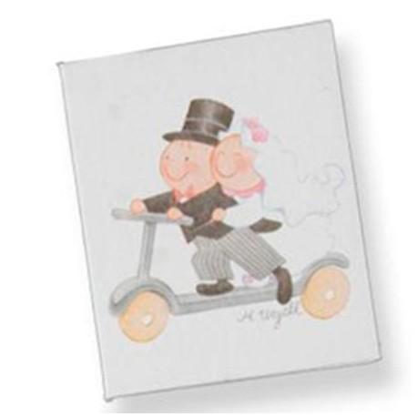 Tarjeta formato librito para los detalles, Pit y Pita en patinete.