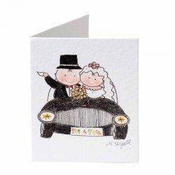 Tarjeta librito Pit y Pita novios en coche