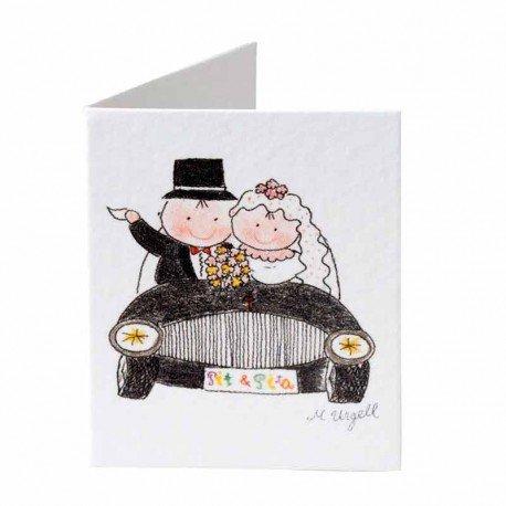 Tarjeta formato librito con Pit y Pita en coche
