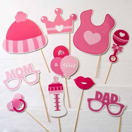 Set para Photocall infantil, bautizo, de color rosa