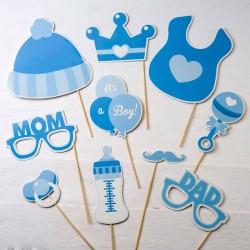 Set Photocall infantil Bautizo azul
