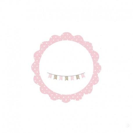 Tarjeta adhesiva redonda con ondas rosa
