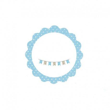 Tarjeta adhesiva redonda con ondas azules