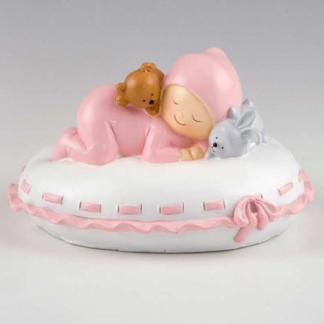 Figura de tarta para bautizo, hucha Pita sobre almohada