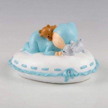 Figura de tarta para bautizo, hucha Pit sobre almohada
