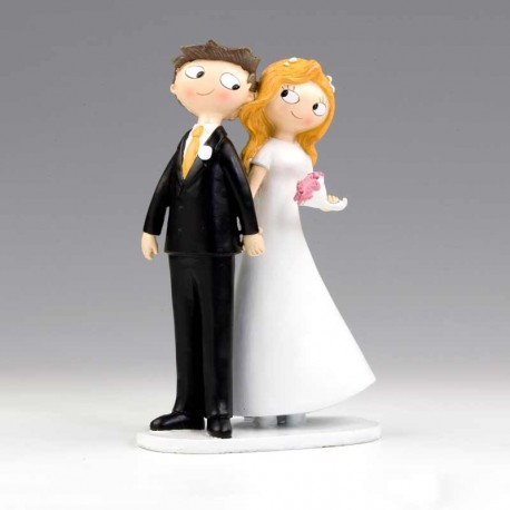 Original figura de novios de la mano, para la tarta de boda
