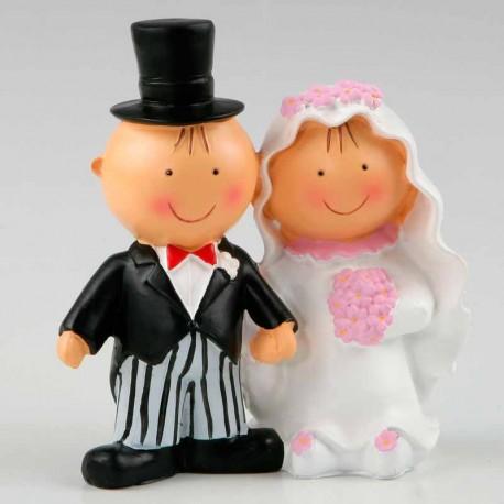 Figura de novios para tarta de boda, Pit & Pita cogidos de la mano