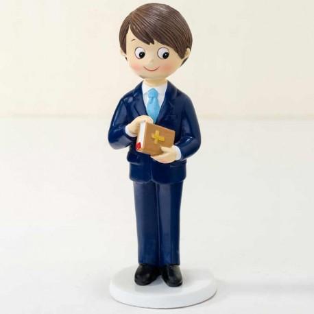 Figura de tarta para Comunión, niño con biblia