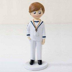 Figura tarta Comunión niño marinero blanco