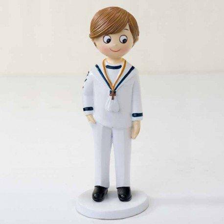Figura para tarta de Comunión, niño marinero blanco
