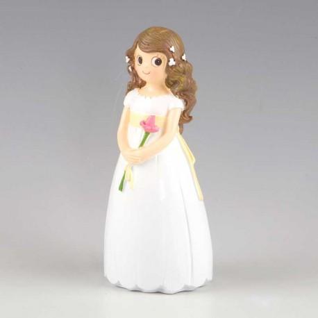 Figura niña Comunión con lirio, para tarta o pastel de comunión