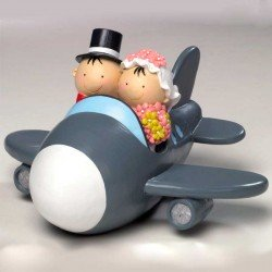 Figura tarta hucha Pit y Pita novios en avión