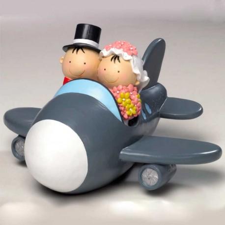 Figura para tarta, novios en avión