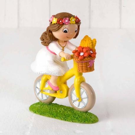 Niña en bicicleta, figura para la tarta o pastel de comunión