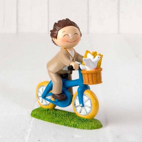 Niño en bicicleta, muñeco para la tarta o pastel de comunión