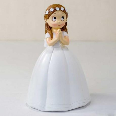 Figura para la tarta de Comunión, niña con corona de flores