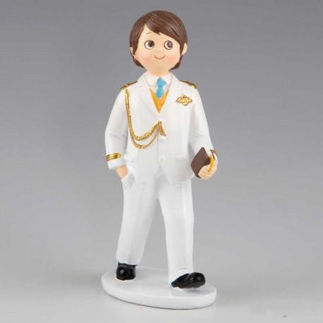 Muñeco para pastel o tarta de Comunión, niño Almirante con traje blanco