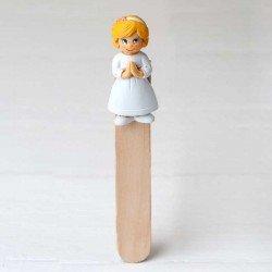 Punto de libro en madera niña Comunión