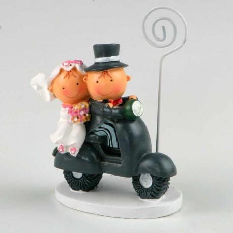 Porta fotos Pit y Pita en vespa, detalle de boda