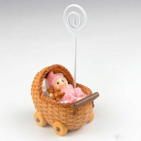 Portafotos niña bebé en cochecito rosa
