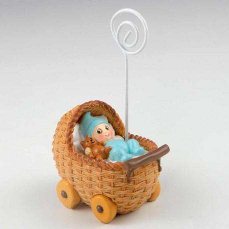 Portafotos niño bebé en moisés, azul