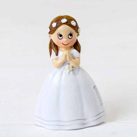 Imán niña con corona de flores, detalle para comunión
