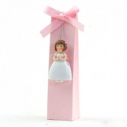 Imán niña Comunión fajín rosa con 2 bombones