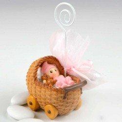 Portafotos niña bebé en moisés con peladillas