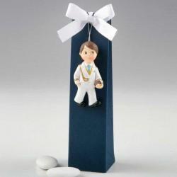 Imán niño Comunión corbata azul con peladillas