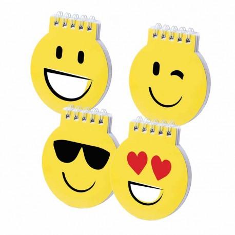 Divertidas libreta amarillas smiles, sonrisa, gafas de sol, corazones y guiño.