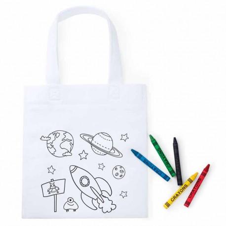 Bolsa infantil con dibujos del espacio para colorear, incluye 5 ceras