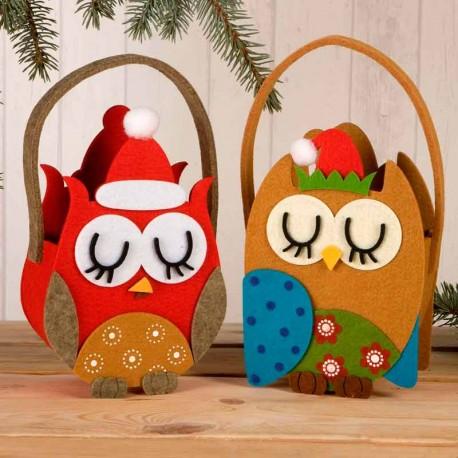 Cesto de Fieltro Búho decorado con gorro de Papá Noel, 2 modelos