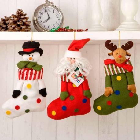 Calcetines de Navidad: Santa Claus, muñeco de nieve y reno, con caramelos