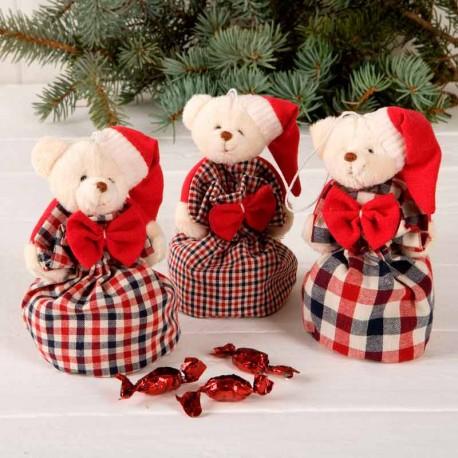 Osito de peluche con saco de cuadros y gorro de Papá Noel, con caramelos
