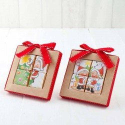 Estuche puzle 4 napolitanas con motivos navideños