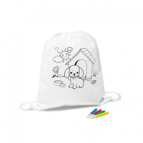 Petate infantil para colorear y rotuladores, perrito
