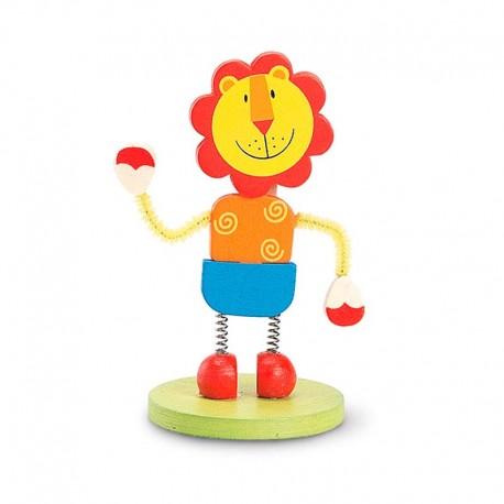 Colorido porta fotos con clip y de madera, león