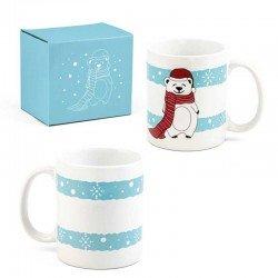 Taza oso polar con gorro de navidad y bufanda, taza desayuno