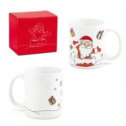 Taza navideña Papá Noel repartiendo regalos
