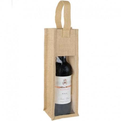 Bolsa para botella de vino con ventana y asa