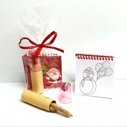 Set lápices colores con libreta con plantillas motivos navideños