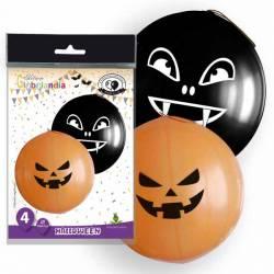 4 Globos gigantes de látex Halloween naranjas y negros
