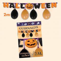 Guinarlda con globos para Halloween