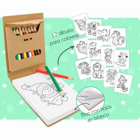 Libreta con 12 divertidas plantillas para pintar, incluye 12 lápices de colores