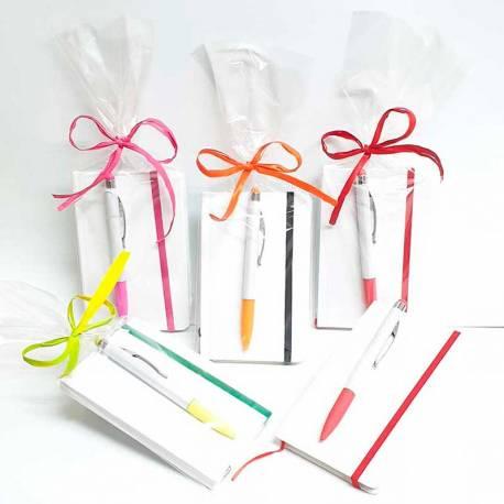 Bloc de notas mas bolígrafo presentado en bolsa, para cumples infantiles