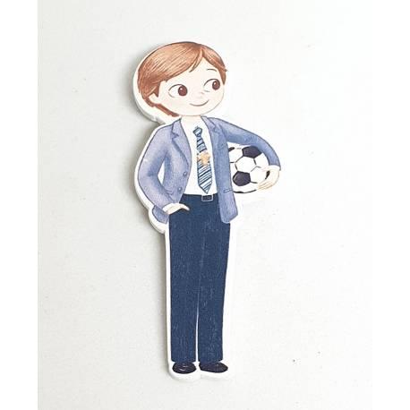 Figura 2D adhesiva niño comunión con balón de futbol