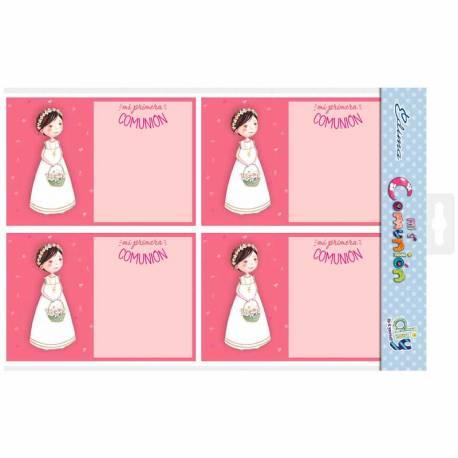 Bolsa 20 invitaciones Primera Comunión niña con cesta de flores y sobre rosa