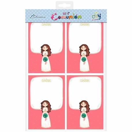 Bolsa con 20 invitaciones Primera Comunión niña con ramo formato vertical y sobre rosa