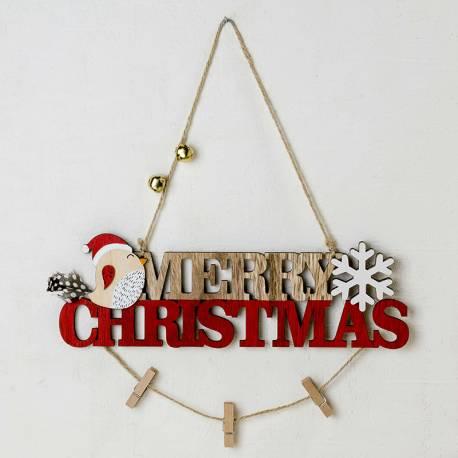 Cartel Merry Christmas en madera